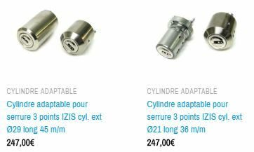 cylindres adaptables pour serrures IZIS