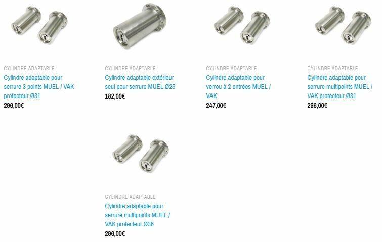 cylindres adaptables pour serrures MUEL 8 GORGES