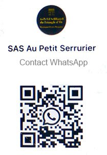 QR Code WhatsApp Au Petit Serrurier Paris 8 et serrurier Paris 16
